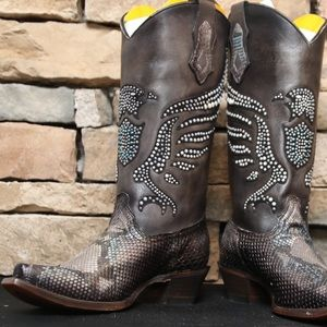 Silver Python Hand Painted & Crystal Pattern Boots